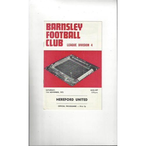 1972/73 Barnsley v Hereford United Football Programme