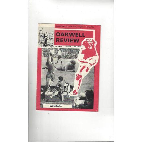 1977/78 Barnsley v Wimbledon Football Programme