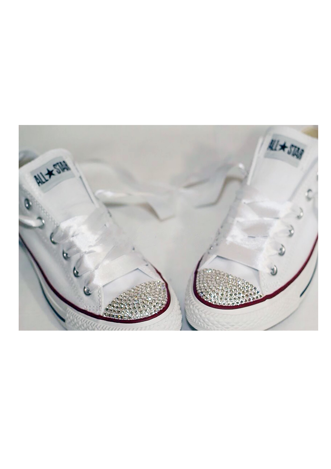 Gorgeous Wedding Converse All White all sizes available with white Pearls