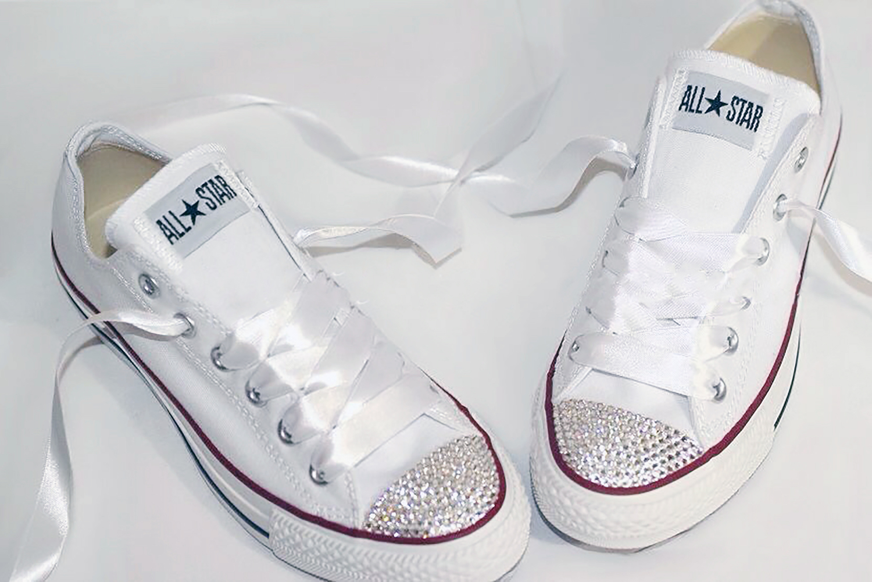 96533a4ac1220e Swarovski Crystal Wedding Converse Trainers (Classic White ...