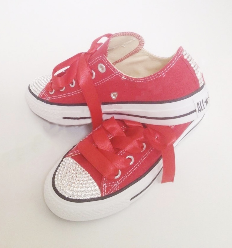 Swarovski Crystal Sparkly Bling Converse Trainers (Adults - Red ... e92c002281
