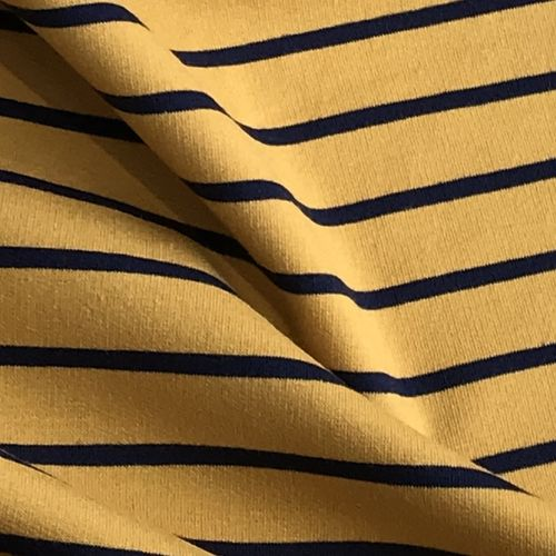 Navy Stripes Mustard Looped Back Jersey 1.35m Remnant