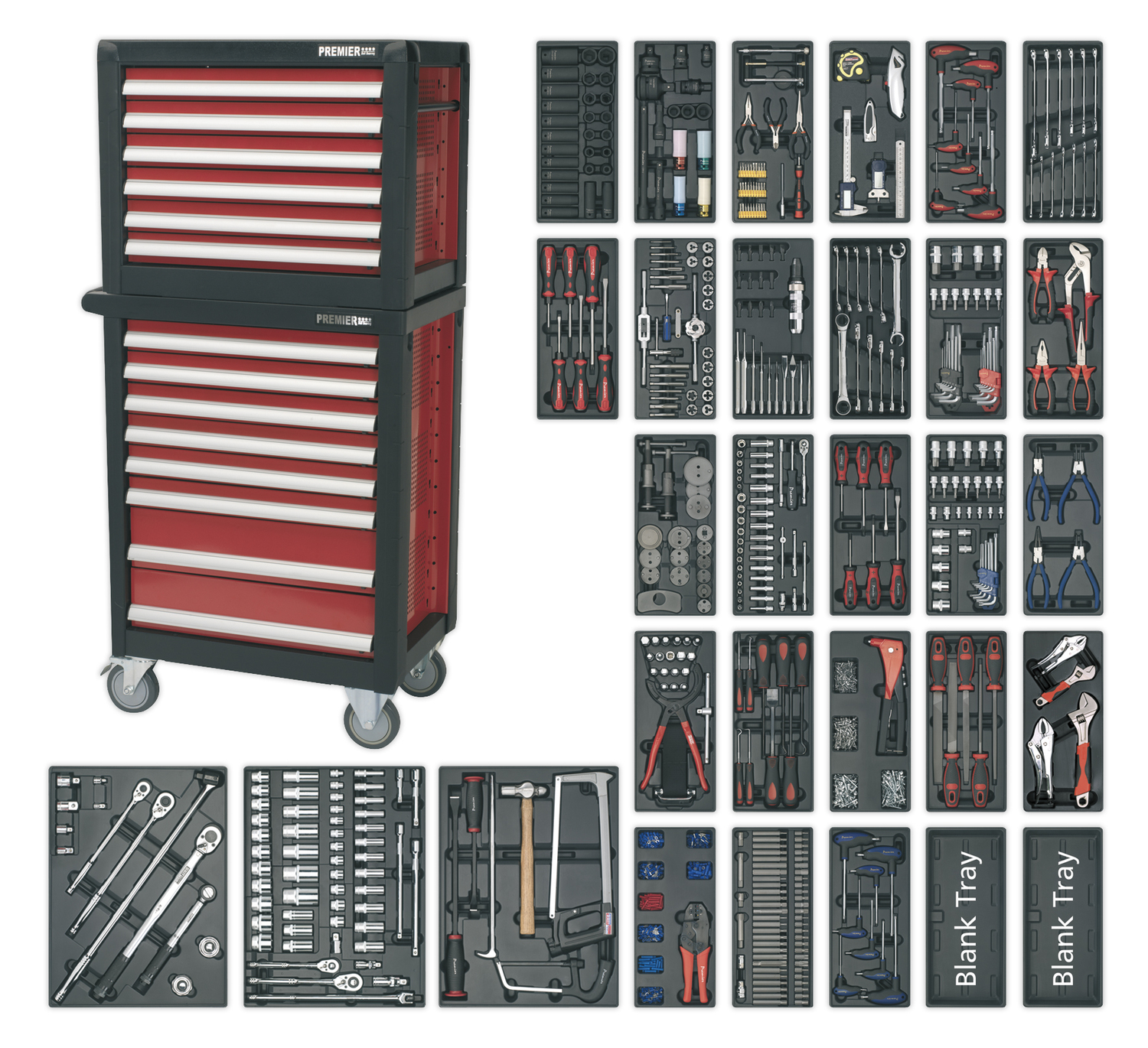 """TBT19 Sealey Tool Tray with Socket Set 43pc 1//4/""""Sq Drive Tool Trays"""
