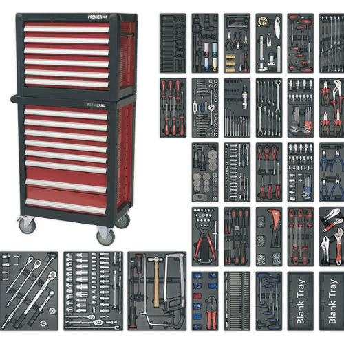 Topchest & Rollcab Combination 14 Drawer with Ball Bearing Slides & 1233pc Tool Kit - Sealey - APTTC02
