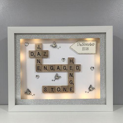 LED engagement / wedding crabble word art