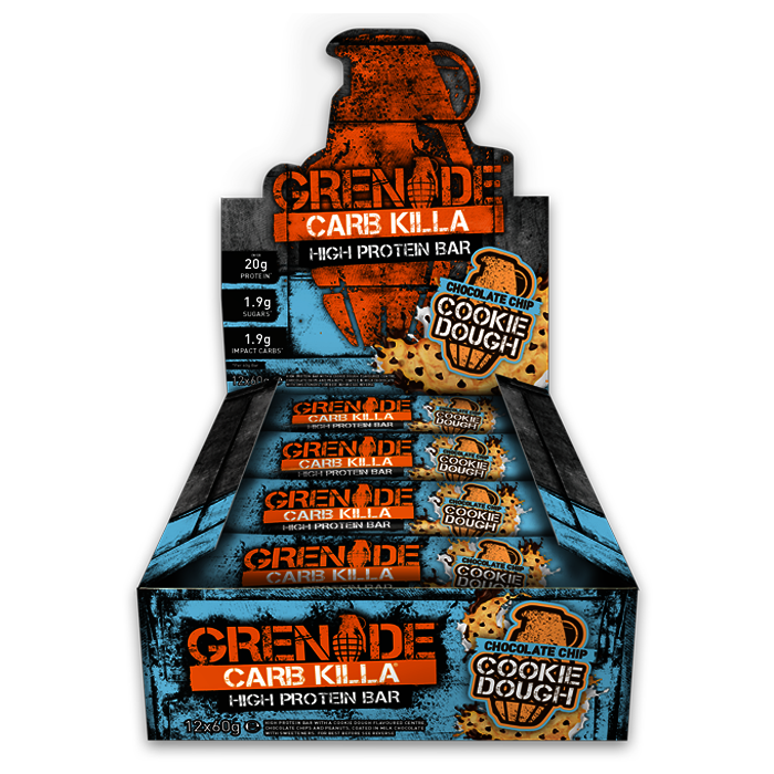 12 x Chocolate Chip Cookie Dough Grenade Carb Killa Bars