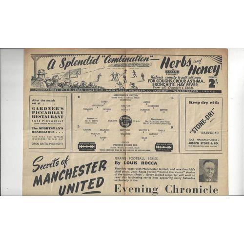 1947/48 Manchester United v Preston FA Cup Football Programme