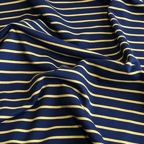 Mustard Striped Navy Looped Back Jersey 93cm Remnant