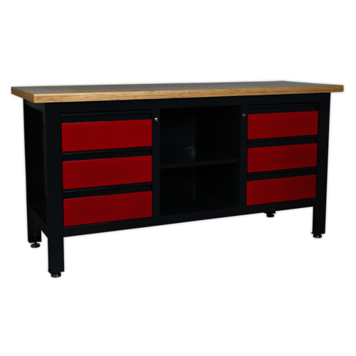 Workstation with 6 Drawers & Open Storage - Sealey - AP1905D