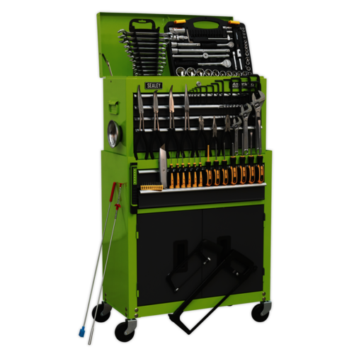 Topchest & Rollcab Combination 6 Drawer with Ball Bearing Slides - Hi-Vis Green/Grey & 128pc Tool Kit - Sealey - AP2200COMBOHV