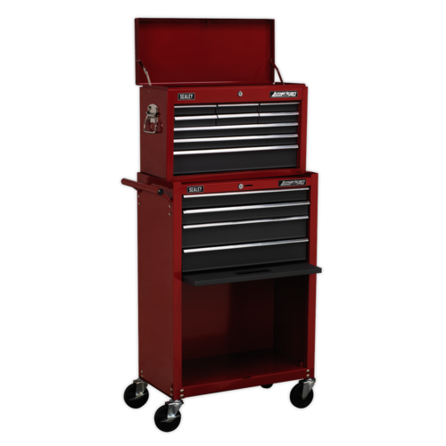 Topchest & Rollcab Combination 13 Drawer with Ball Bearing Slides - Red/Grey - Sealey - AP22513BB