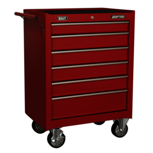 Rollcab 6 Drawer with Ball Bearing Slides - Red - Sealey - AP226