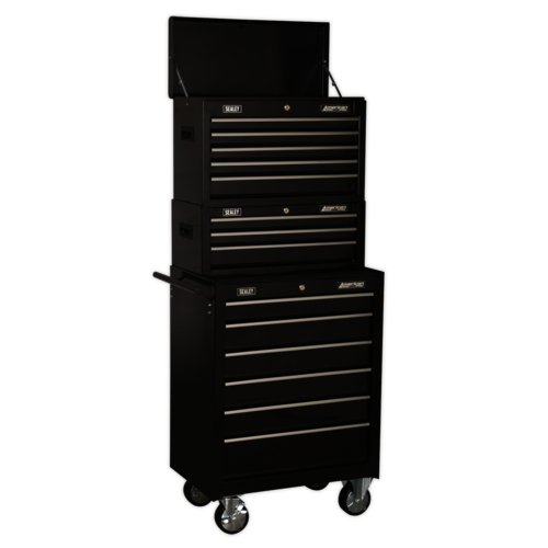 Topchest, Mid-Box & Rollcab 14 Drawer Stack - Black - Sealey - AP22BSTACK