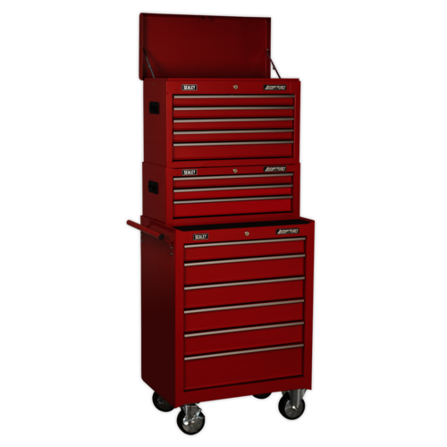 Topchest, Mid-Box & Rollcab 14 Drawer Stack - Red - Sealey - AP22STACK