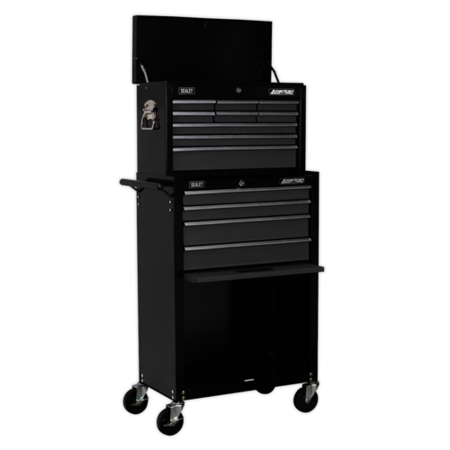 Topchest & Rollcab Combination 13 Drawer with Ball Bearing Slides - Black/Grey - Sealey - AP2513B