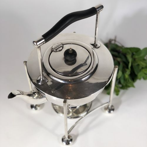 Art Deco English silver plated warming teapot kettle