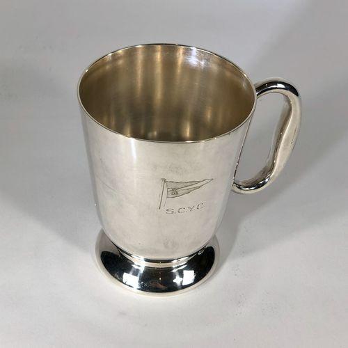Old silver plated sailing regatta half pint tankard 1930s