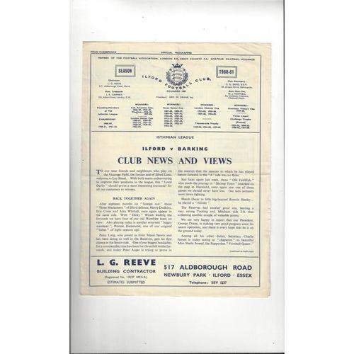 1960/61 Ilford v Barking Football Programme