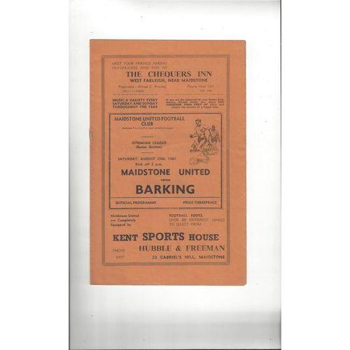 1962/63 Maidstone United v Barking Football Programme