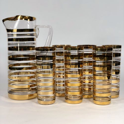 Mid 20th Century 22carat gold cocktail jug and tall tumblers
