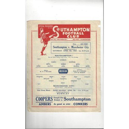 1946/47 Southampton v Manchester City Football Programme