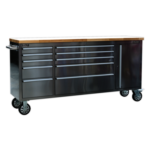 Mobile Stainless Steel Tool Cabinet 10 Drawer & Cupboard - Sealey - AP7210SS