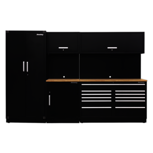 Modular Storage System Combo with a Oak Worktop - Sealey - APMSCOMBO2W