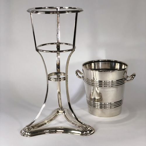 Art Deco champagne bucket and stand