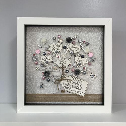 """ floral christening "" family tree frame"