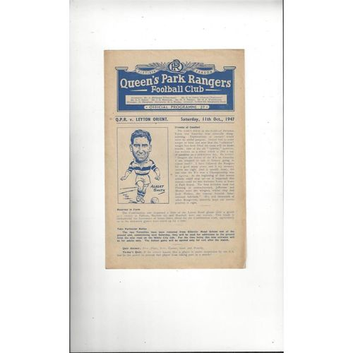 1947/48 Queens Park Rangers Reserves v Leyton Orient Reserves Football Programme