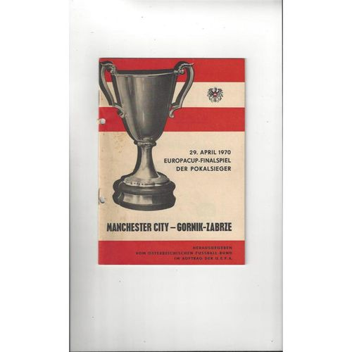 1969/70 Gornik Zabrze v Manchester City Cup Winners Cup Final Football Programme