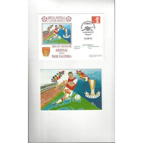 Arsenal v Salonika Football First Day Cover + Insert 1997
