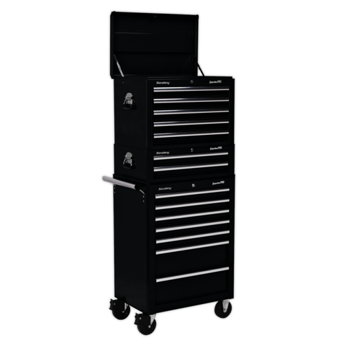 Topchest, Mid-Box & Rollcab Combination 14 Drawer with Ball Bearing Slides - Black - Sealey - APSTACKTB