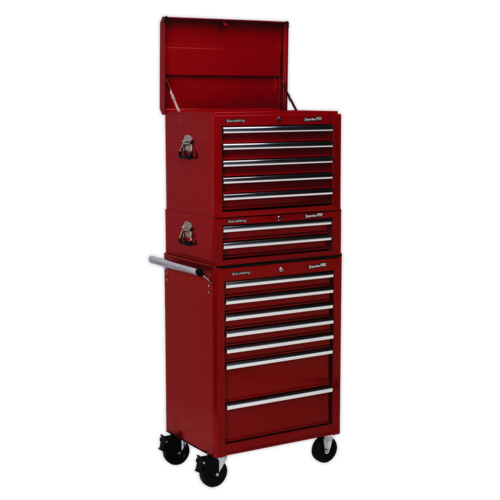 Topchest, Mid-Box & Rollcab Combination 14 Drawer with Ball Bearing Slides - Red - Sealey - APSTACKTR