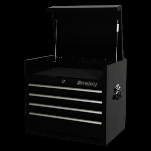 Topchest 4 Drawer 660mm Heavy-Duty Black - Sealey - PTB66004