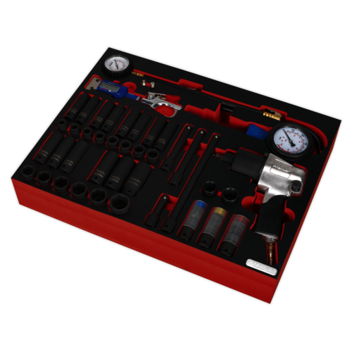 Tool Tray with Impact Wrench, Sockets & Tyre Tool Set 42pc - Sealey - TBTP08