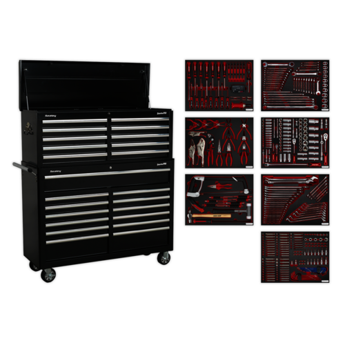 Tool Chest Combination 23 Drawer with Ball Bearing Slides - Black with 446pc Tool Kit - Sealey - TBTPBCOMBO4