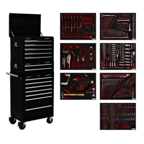 Tool Chest Combination 14 Drawer with Ball Bearing Slides - Black & 446pc Tool Kit - Sealey - TBTPCOMBO2