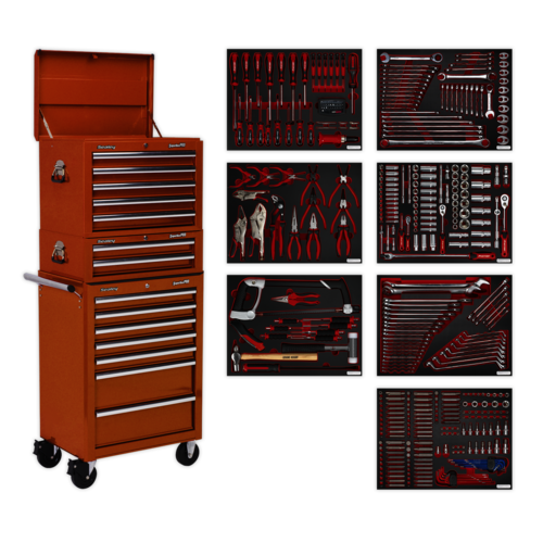 Tool Chest Combination 14 Drawer with Ball Bearing Slides - Orange & 446pc Tool Kit - Sealey - TBTPCOMBO4