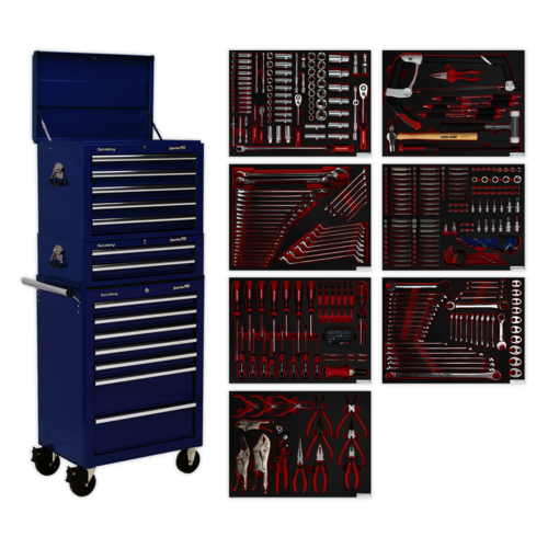 Tool Chest Combination 14 Drawer with Ball Bearing Slides - Blue & 446pc Kit - Sealey - TBTPCOMBO5