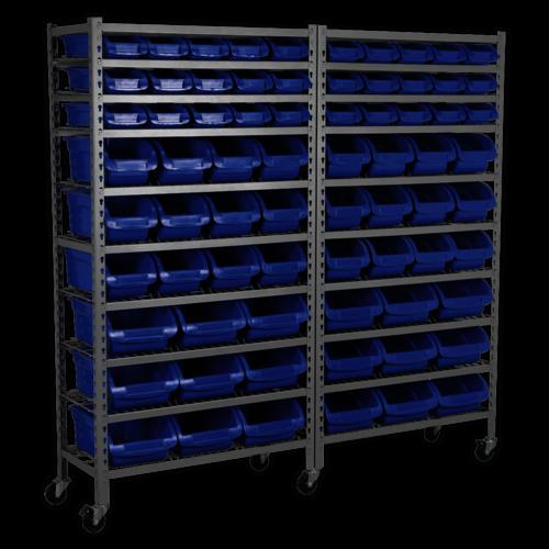 Mobile Bin Storage System 72 Bins - Sealey - TPS72