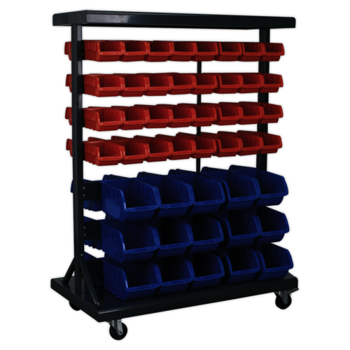 Mobile Bin Storage System with 94 Bins - Sealey - TPS94
