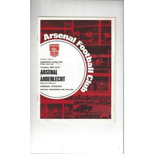 1970 Arsenal v Anderlecht Fairs Cup Final Football Programme