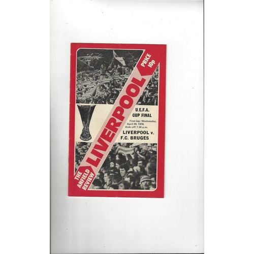 1976 Liverpool v Bruges Fairs Cup Final Football Programme