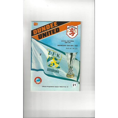 1987 Dundee United v Goteborg UEFA Fairs Cup Final Football Programme