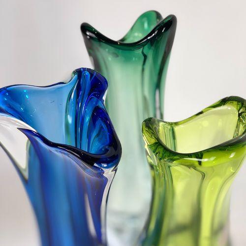 Trio of Val Saint Lambert tall crystal vases