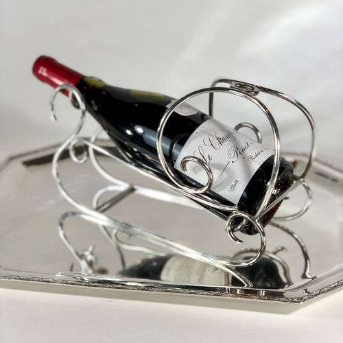 French silver plated 'Snow Sleigh' wine bottle cradle