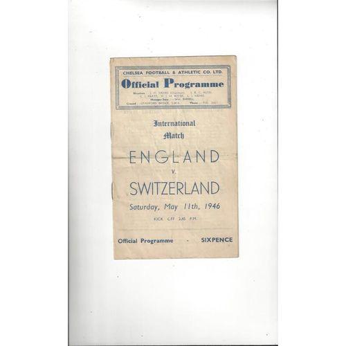 1946 England v Switzerland Football Programme @ Chelsea