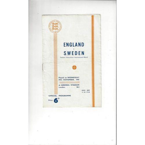 1947 England v Sweden Football Programme at Arsenal