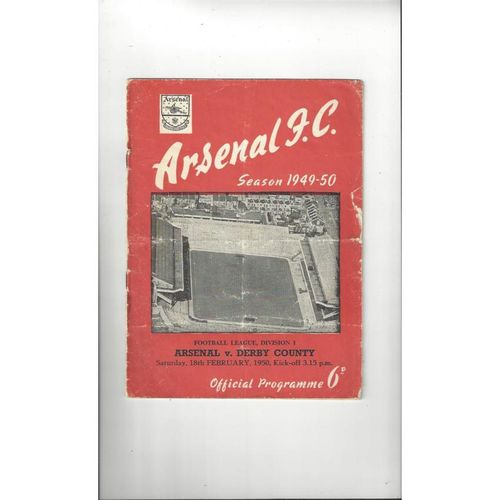 1949/50 Arsenal v Derby County Football Programme
